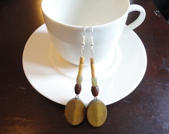 Wooden beaded dangle earring