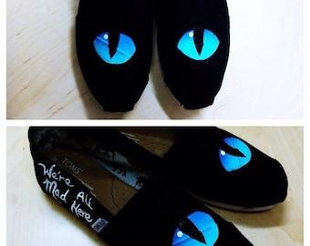 Hand Painted Custom Shoes TOMS Vans Converse Canvas Sneakers Cheshire Cat Eyes Alice Wonderland Disney Art