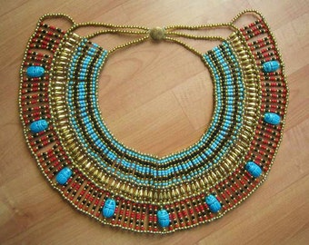 Amazing Egyptian Handmade Belly Dance Costume of Ancient CLEOPATRA Beaded Necklace Collar.....Halloween