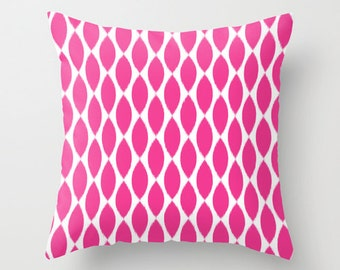 Velveteen Pillow - Fuchsia Pillow - Teen Pillow - Teen Room Decor - Girls Pillow - Dorm Pillow - Ikat Pillow - Girls Decor - Dorm Decor