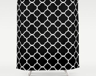 Curtains Ideas black and white damask curtains : Items similar to Damask Curtain Black & White Shower Curtain With ...