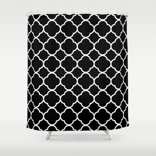 Aqua White Quatrefoil Shower Curtain By Dreamingmindcards