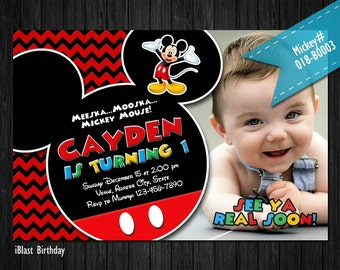 Mickey Mouse Invitations - Mickey Mouse Birthday invitation , Personalized Digital file - Mickey Mouse Clubhouse Invitation