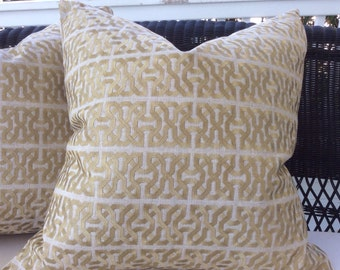 Kravet Couture Barbara Barry Pillow Cover in Platinum and Cream Ceylon Key Linen