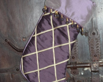 Silk Dupioni Stocking - Royal York Penthouse - Purple & Gold with Ribbons