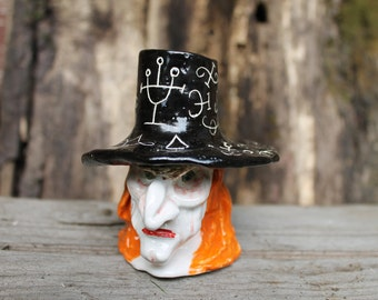 Sculptural Witch ceramic Halloween Candle holder,Handmade black candlestick,spooky Candle holder,clay art,Halloween decor,creepy candlestick