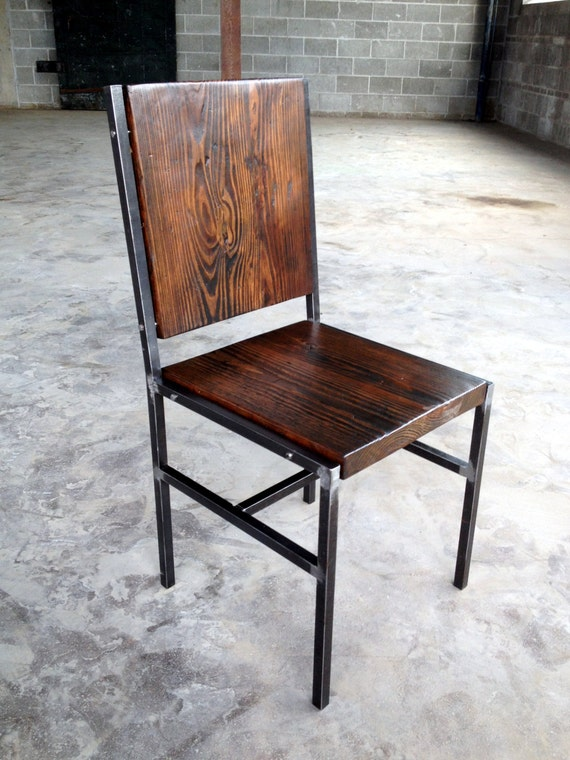 Items Similar To Chair Stool Made Of Reclaimed Wood And Steel With Iron Pins On Etsy
