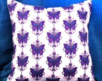 Purple butterfly pillow cover 18x18