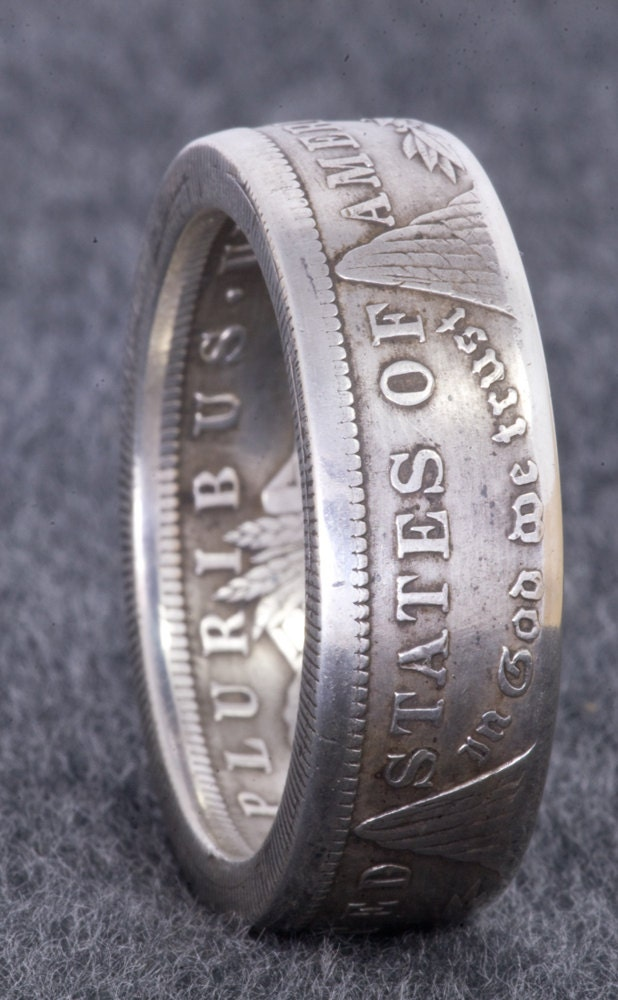 1921 Silver Morgan Dollar Coin Ring Double Sided Size 10 22