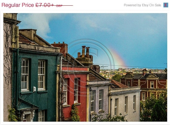 ON SALE Rainbow Over Coloured Houses - Street photography - Rainbow photography - Bristol photography - Home design