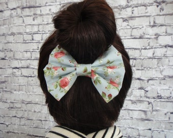 Floral Print Burlap Fabric Blue Cotton Fabric Hair Bow Hair Accessory For All Hair TypesAlligator / Barrette For Girls