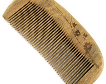 "Evolatree - Elegant Natural Handcrafted Comb - Fine Tooth - Lignum Vitae Wood - 5"" (8-5F)"