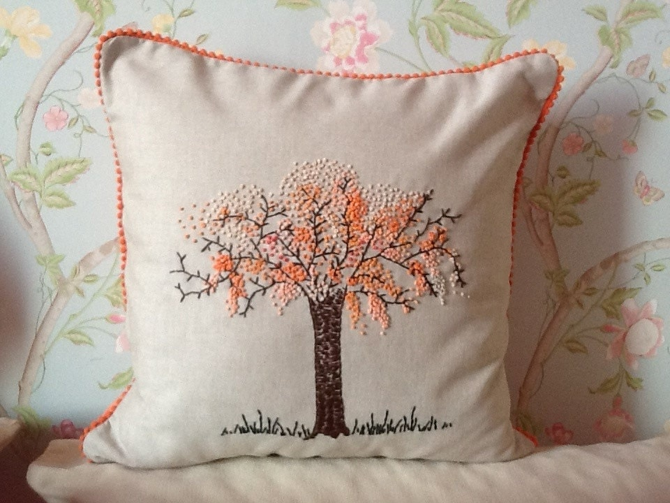 French knot tree pillow cover embroidery cute by