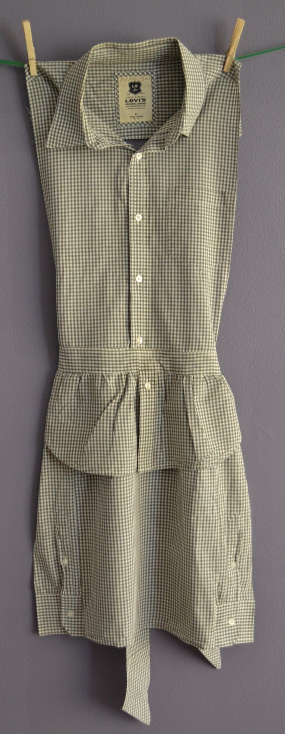 Items similar to upcycled men 39 s shirt apron pattern on etsy for Patterned dress shirts for men