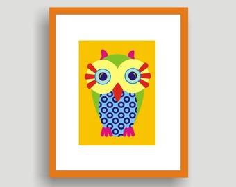 Baby Owl Yellow - POP ART original  by C Wiedenheft  comes with a white mat ready to frame