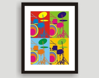 Drums - Pop Art Original Print by C Wiedenheft  comes with a white mat and ready to frame.