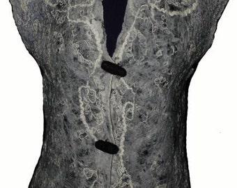 Felt vest , Nunofelt vest , Felt clothing , Felt fashion , Felt art , Fiber art clothing , Unique textile art , OOAK