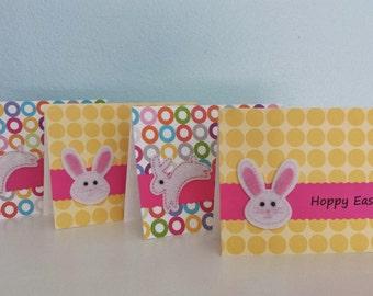 "Handmade Easter Card ""Hoppy Easter"" Bunny Rabbit Polka Dots"