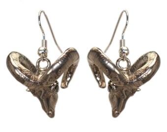 Pair Ram Earrings 3D Printed Animal Skull Earrings Ram Skull in Bronze White Bronze