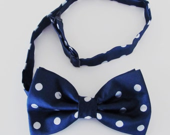 Mens Bowtie Navy Blue With White Polkadots Adjustable  Banded Pre Tied Bow Tie