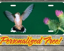 Custom Hummingbird Personalized License Plate ALUMINUM Free Lettering Auto Tag Free Shipping