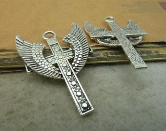 10pcs Wing cross 28x40mm Antique silver cross pendant Jewelry findings wholesale bC4902