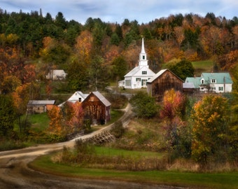 Vermont Church in Autumn Colors Photograph, Fall, Trees, Foliage, Village Road, Small Town, Americana - Heaven in New England