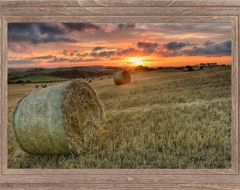 Sunset with Hay Bales print - LIMITED EDITION fine art Sunset print - Agriculture Print - summer harvest, bales of straw,