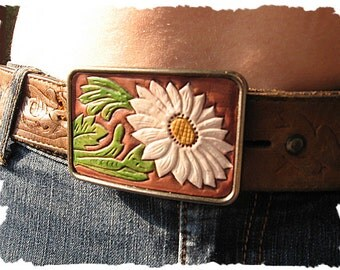 Tooled Leather and Metal Belt Buckle