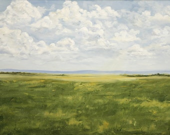 11x14 Giclee Archival Print by artist Laurie Schena - Open Prairie Grass Fields