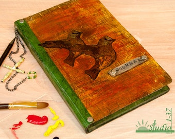 Earth Orange, Yellow, and Green Hand Made and Painted Mixed Media Bound Blank Journal with Flying Birds on Music