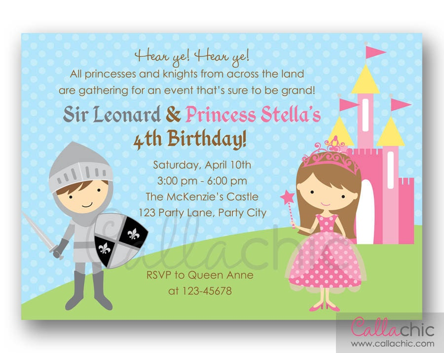 princess and knight birthday invitation printable twin. Black Bedroom Furniture Sets. Home Design Ideas