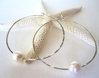 Silver Hoop Pearl Earrings -  white pearl earrings - silver and pearl earrings - sterling silver hoops - pearl and silver earrings - pearls