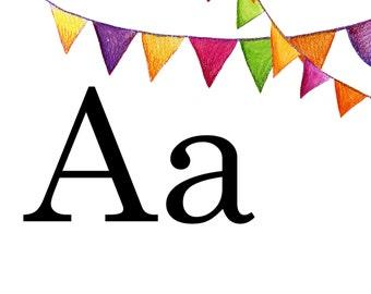 Large Alphabet Flash Cards Printable PDF