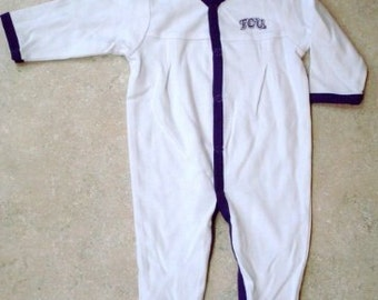Texas Christian TCU Baby Pleated Sleeper