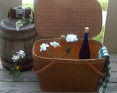 Vintage Redmon Picnic Basket with Metal Handles / Model 55 to 57 / Redman Label / Le Pique Nique / Dining Al Fresco / Sewing Basket / F475
