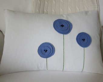 Periwinkle Blue/Lavender Wool Felt Beaded Poppy Flowers & Hand Embroidered Stems on Cream Cotton Twill Lumbar Pillow Cover 12 x 18 Inches
