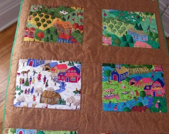 Hand Quilted Seasons Quilt with brown