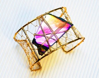Cosmic Chaos Cuff Bracelet with Rainbow Titanium Coated Slab Quartz