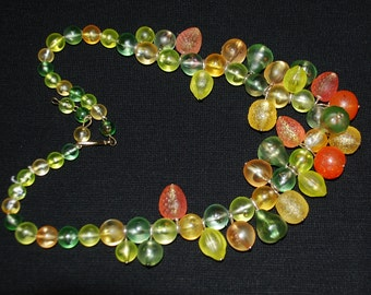 Plastic Fruit Salad Necklace Vintage West Germany