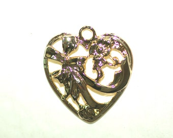 Heart Flower Pendant Gold Plated 34x37mm Including Loop