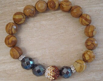 Wood Jasper and Hematite Beaded Stretch Bracelet with Crystal Pave Ball