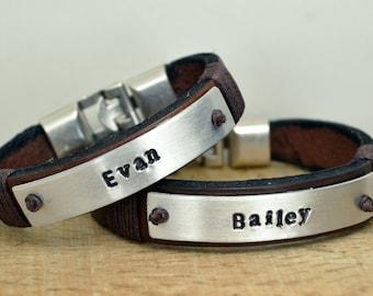 FREE SHIPPING Personalized Couple Bracelet, Men's Leather Bracelet,Couple Leather Bracelet,His-Her Bracelet,Hand stamped aluminum bracelet