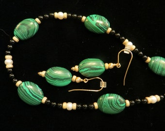 Malachite necklace and earring set.
