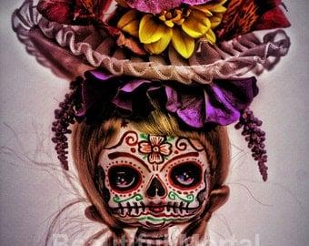 Beautiful Mortal Blonde Dia De Los Muertos Doll Canon PRINT 347 Reproduction by Michael Brown