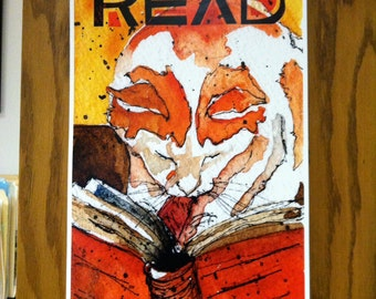 "Cat READ! poster. Cat reading a book, 13""x 20"" printed from my original watercolor painting ""Roscoe Reads"""