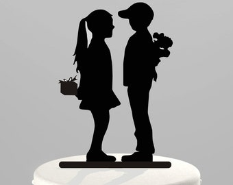 Cake Topper Silhouette Boy meets Girl, Acrylic Wedding or Birthday Cake Topper [CT80]