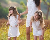 Casual white dress, cotton dress,  girls dress, mother daughter dress