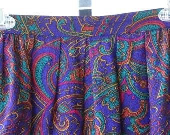 ON SALE - 90s, multi colored, midi skirt, small