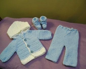 Crochet Hoody Sweater , Pants and Booties  Set